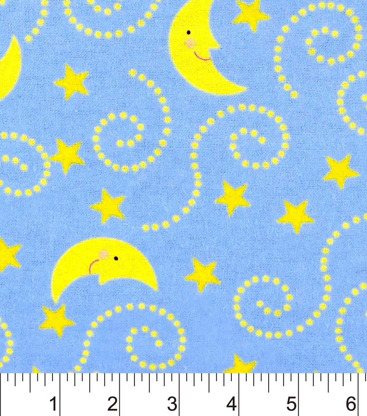 Nursery Flannel Fabric 42\u0022-Rhymes Blue Moon And Stars Blue