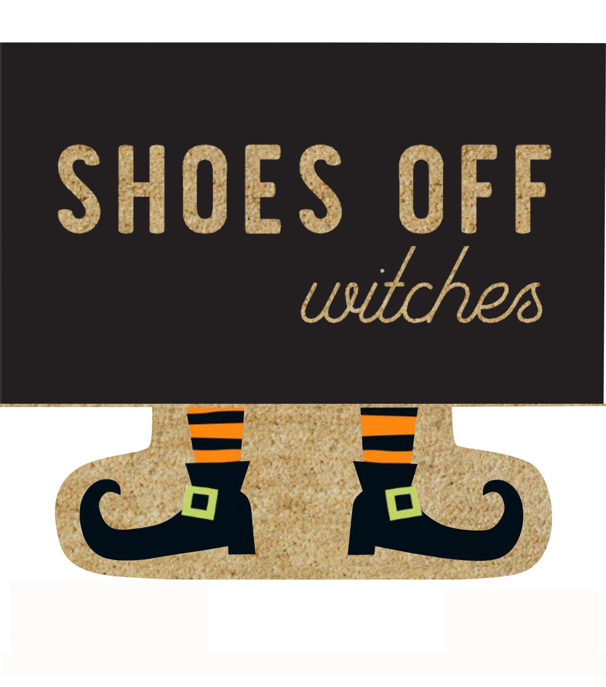 Maker\u0027s Halloween Figural Natural Tufted Coir Mat-Shoes Off Witches