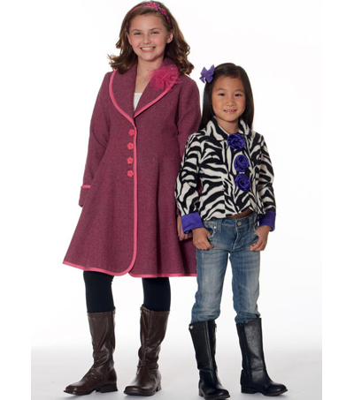 McCall\u0027s Pattern M7461 Girls\u0027 Peter Pan or Shawl Collar Jackets & Coats