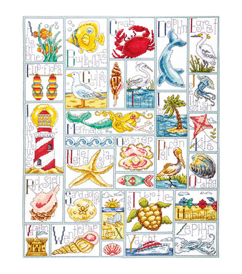 Tobin-Ocean ABC Counted Cross Stitch Kit-16 X20  14 Count