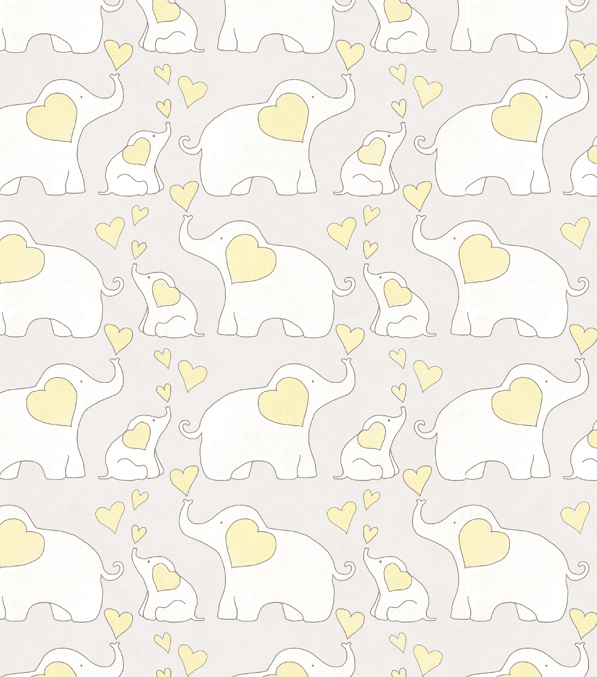 Nursery Flannel Fabric-Elephants Yellow