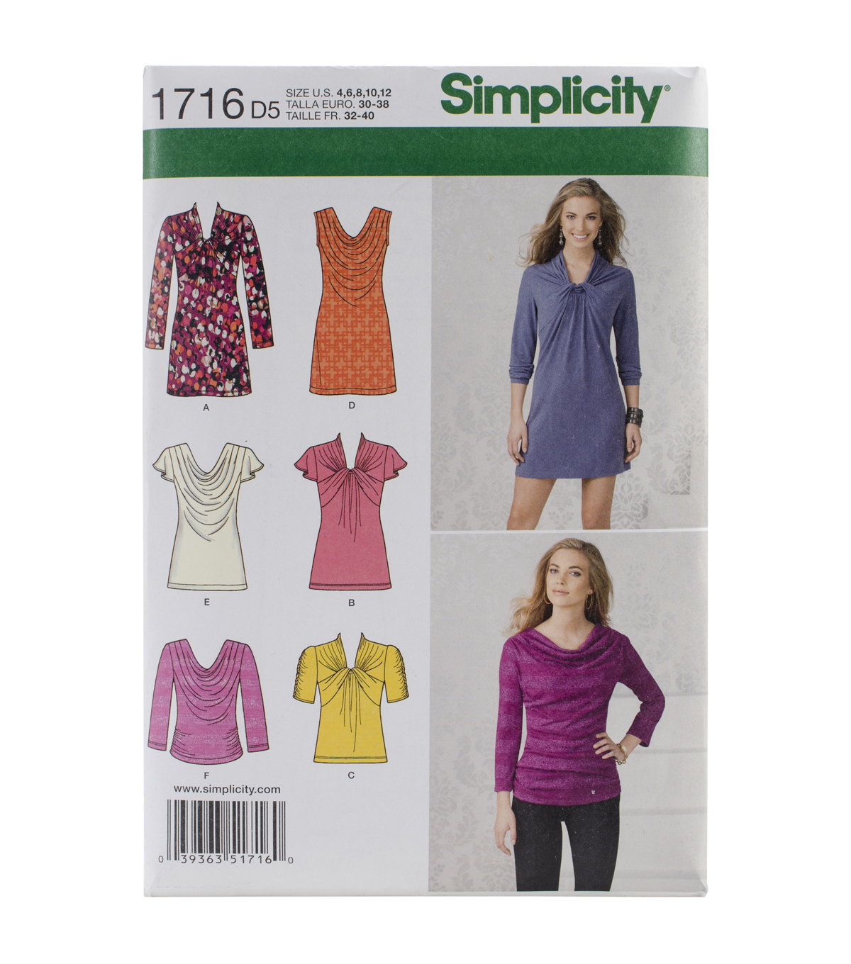 Simplicity Patterns Us1716D5-Simplicity Misses\u0027 Knit Top And Mini Dress-4-6-8-10-12