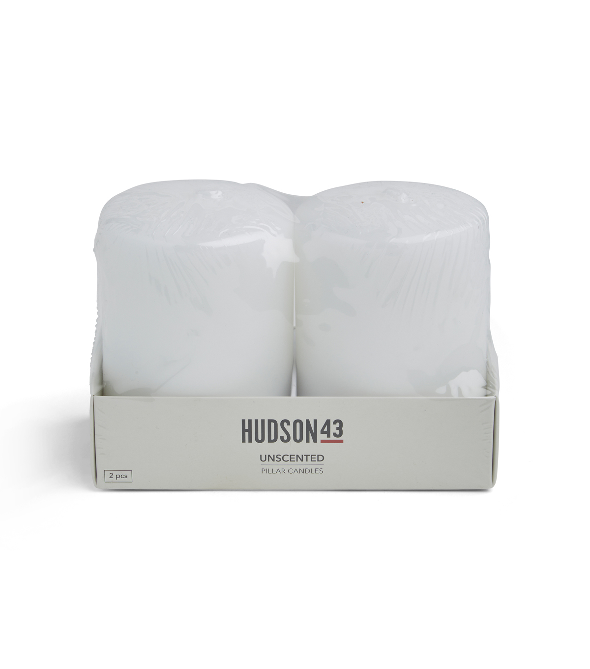 Hudson 43 Candle & Light Collection 2pk 3\u0022x4\u0022 Unscented Pillar Candles-White