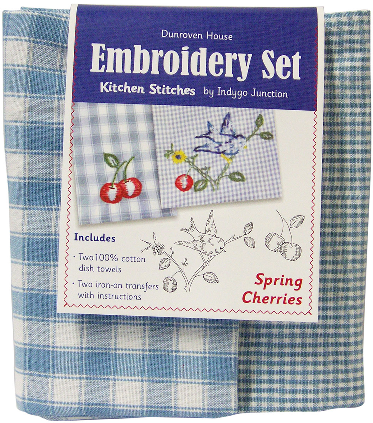 Spring Cherries Kitchen Stitches Tea Towel Embroidery Kit-20\u0022X28\u0022