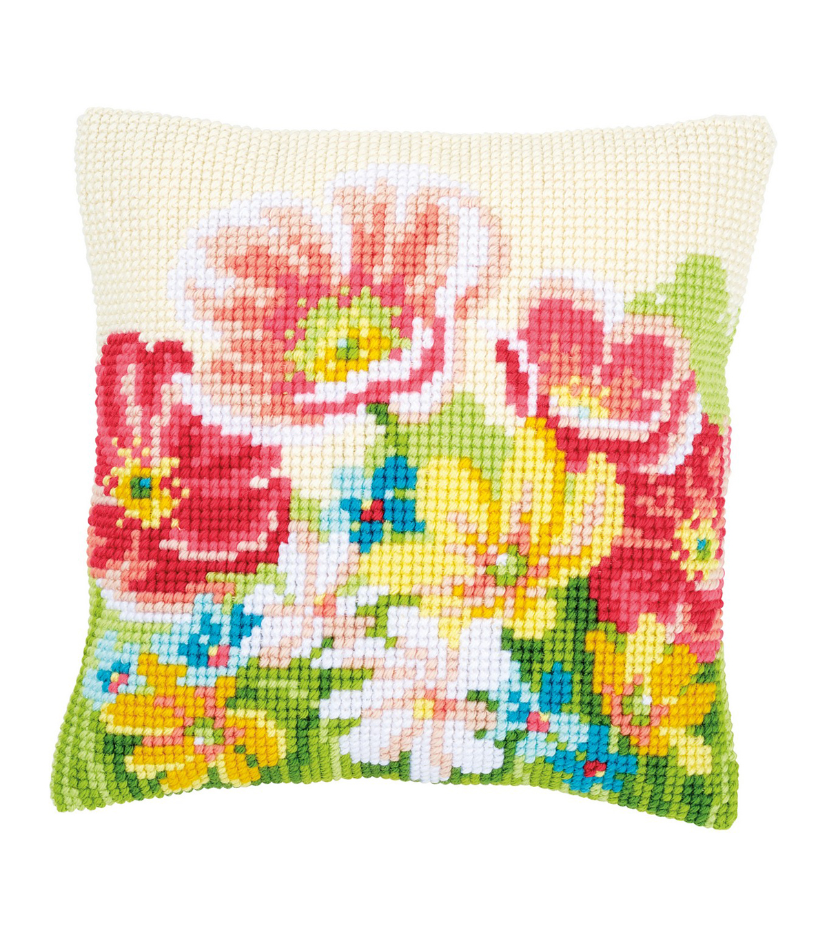 Vervaco Needlepoint Cushion Top Kit 16\u0027\u0027X16\u0027\u0027-Summer Flowers Stitched