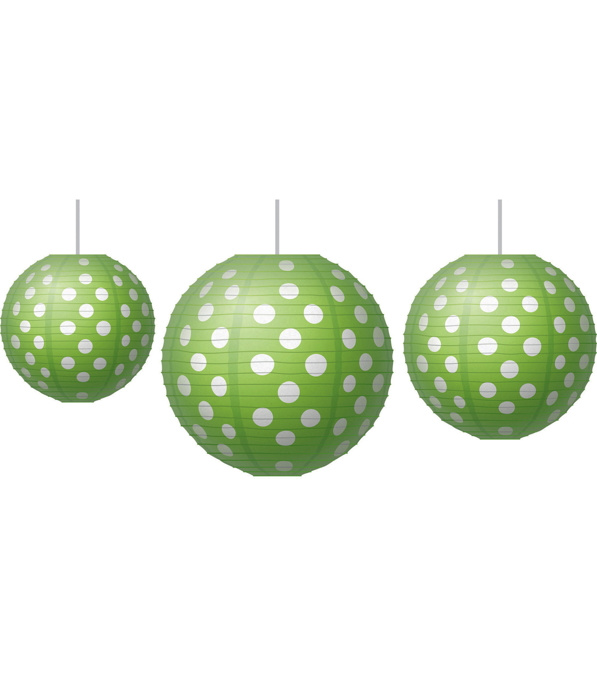 Paper Lanterns Lime Polka Dots 3/pk, Set Of 3 Packs