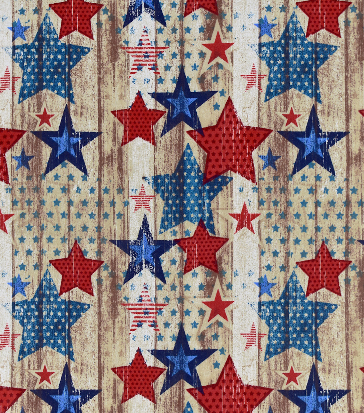 Snuggle Flannel Fabric-Red White Blue Vintage Stars On Wood