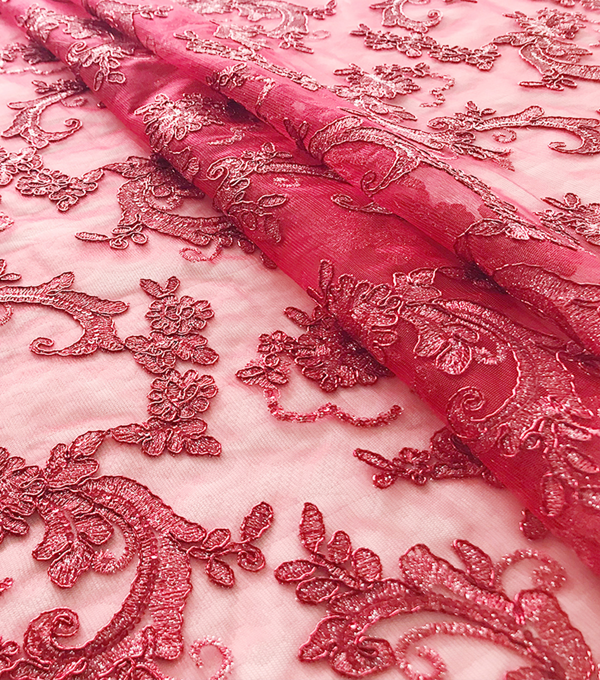 Quinceanera Floral Scroll On Mesh Fabric-Tango Red