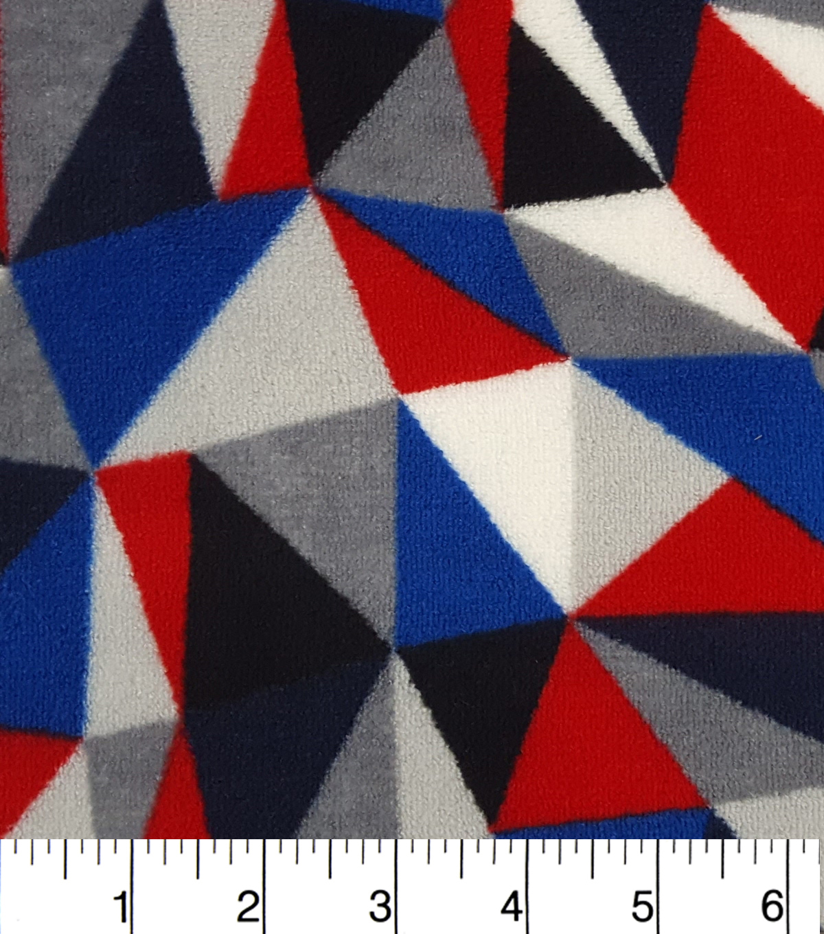 Ultra Fluffy Fleece Fabric -Blue and Gry and Red Triangle