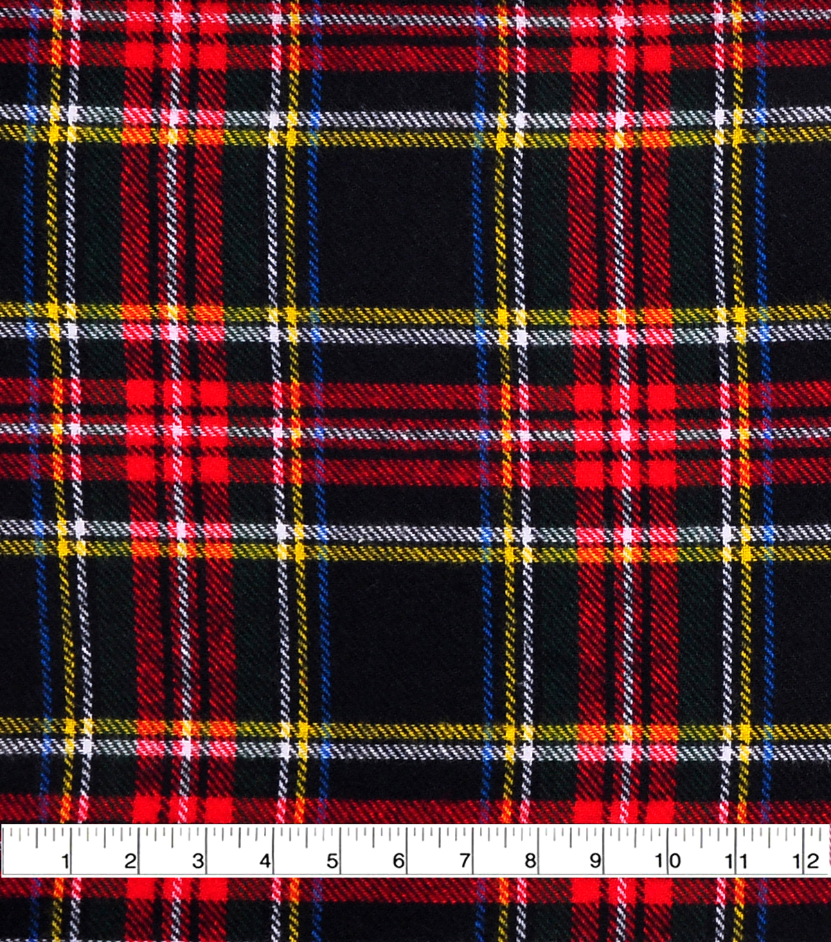 f6225e13f7afb Shirting Cotton Flannel Fabric-Black, Red, Green & Yellow Plaid