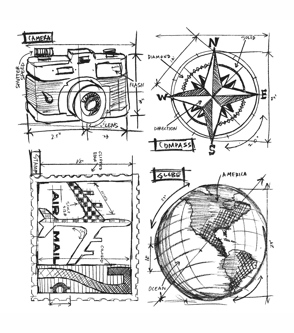 Tim Holtz Cling Rubber Stamp Set Travel Blueprint