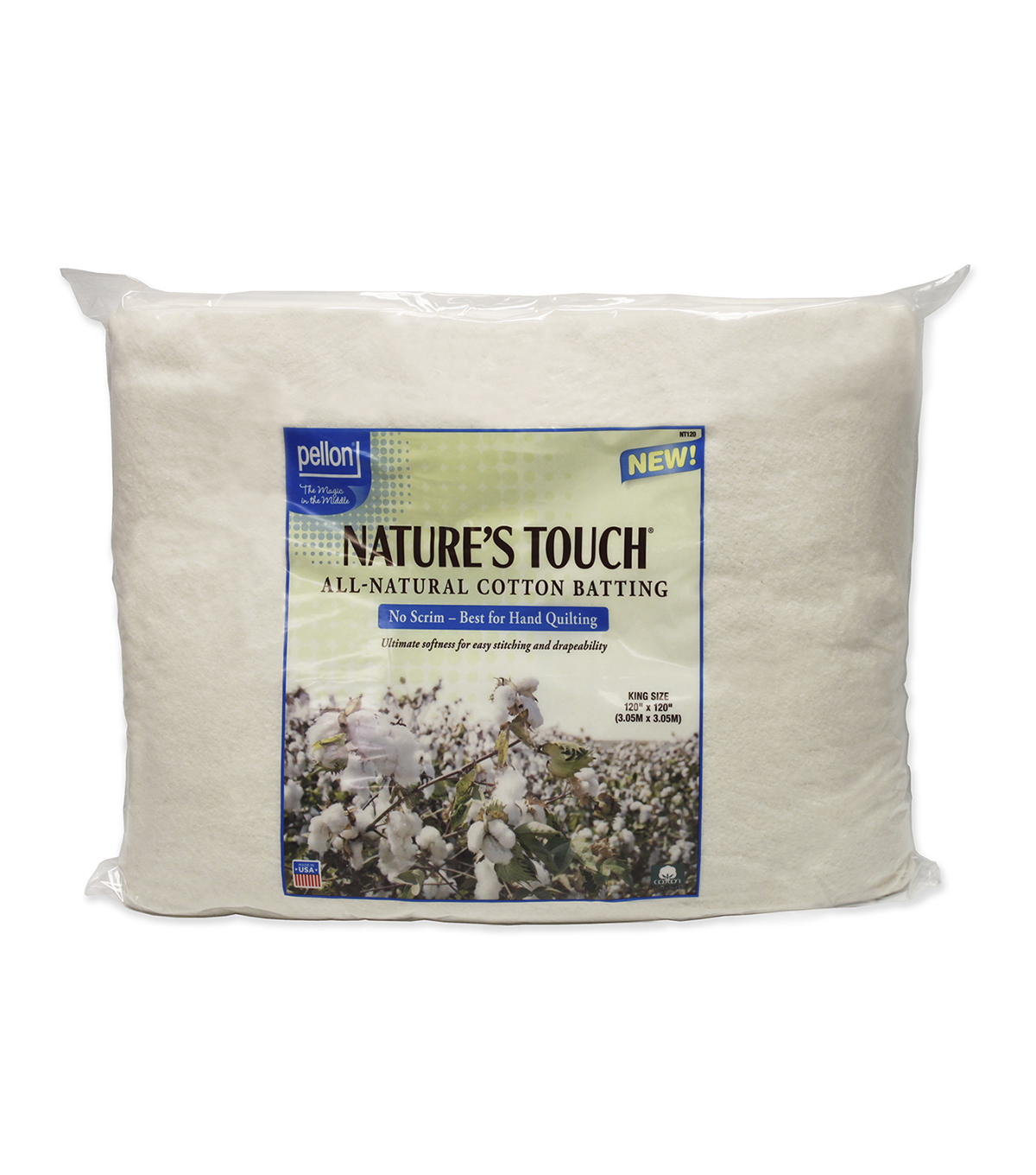 Pellon Natures Touch Natural Cotton King Batting 120X120