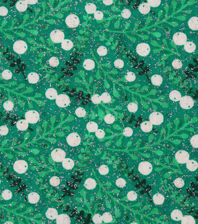 Christmas Cotton Fabric-Green Berry Twigs
