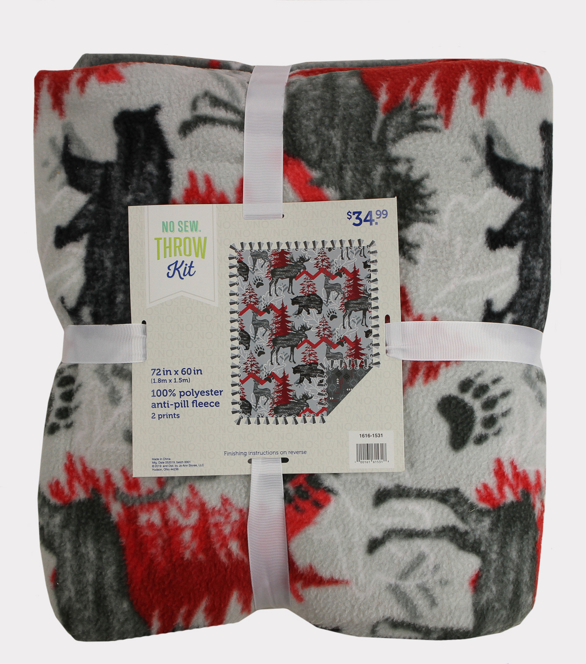 No-Sew Throw Fleece Fabric 72\u0022-Red & Gray Moose