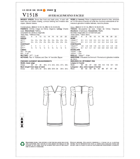 Vogue Pattern V1518 Misses\u0027 Exaggerated Pleated Sleeve Dress-Size 14-22
