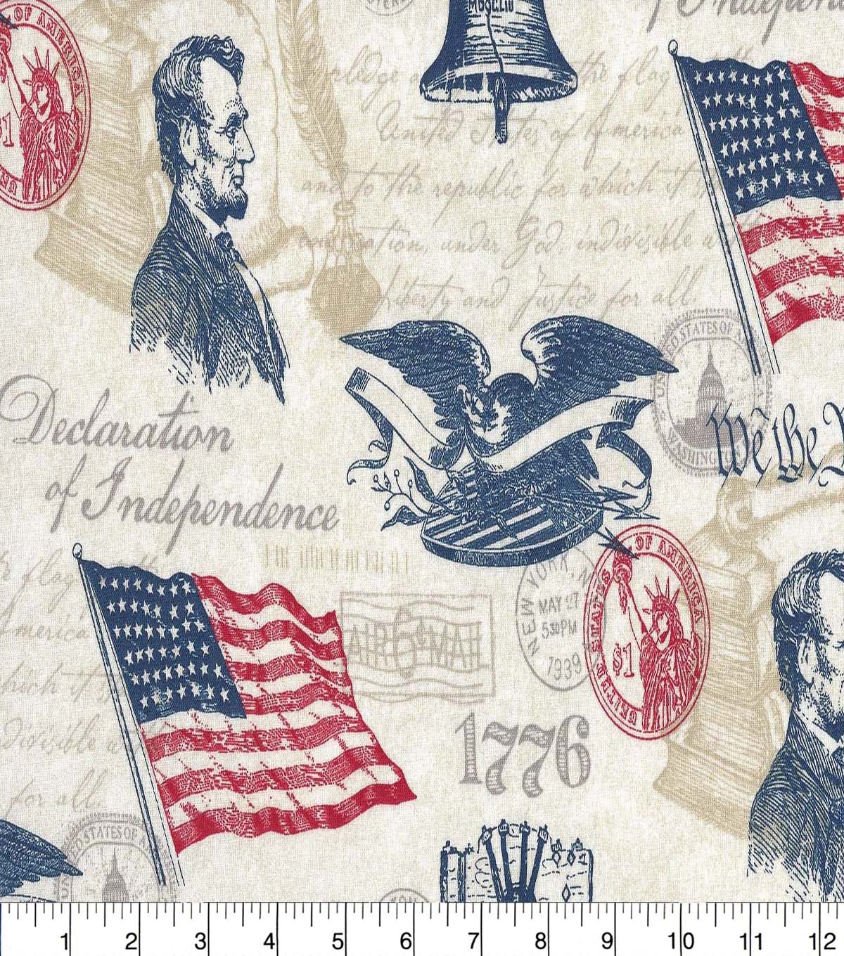 Patriotic Cotton Fabric -Declaration