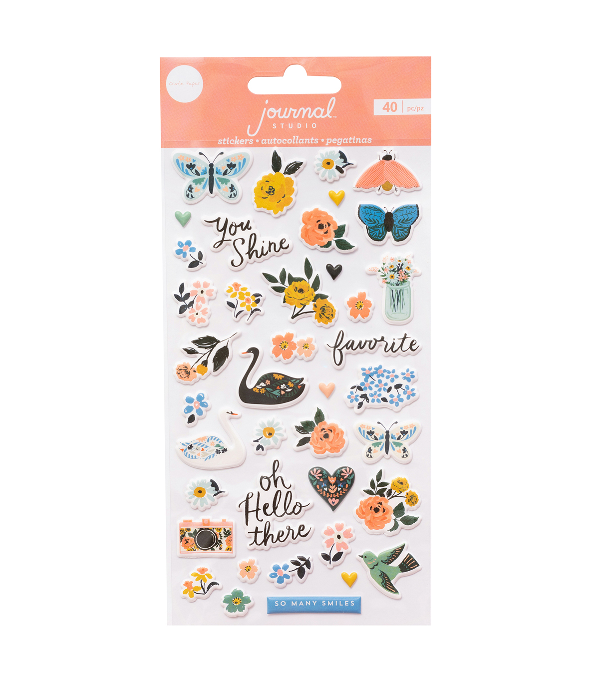 Crate Paper Journal Studio 40 pk Puffy Stickers-Swan