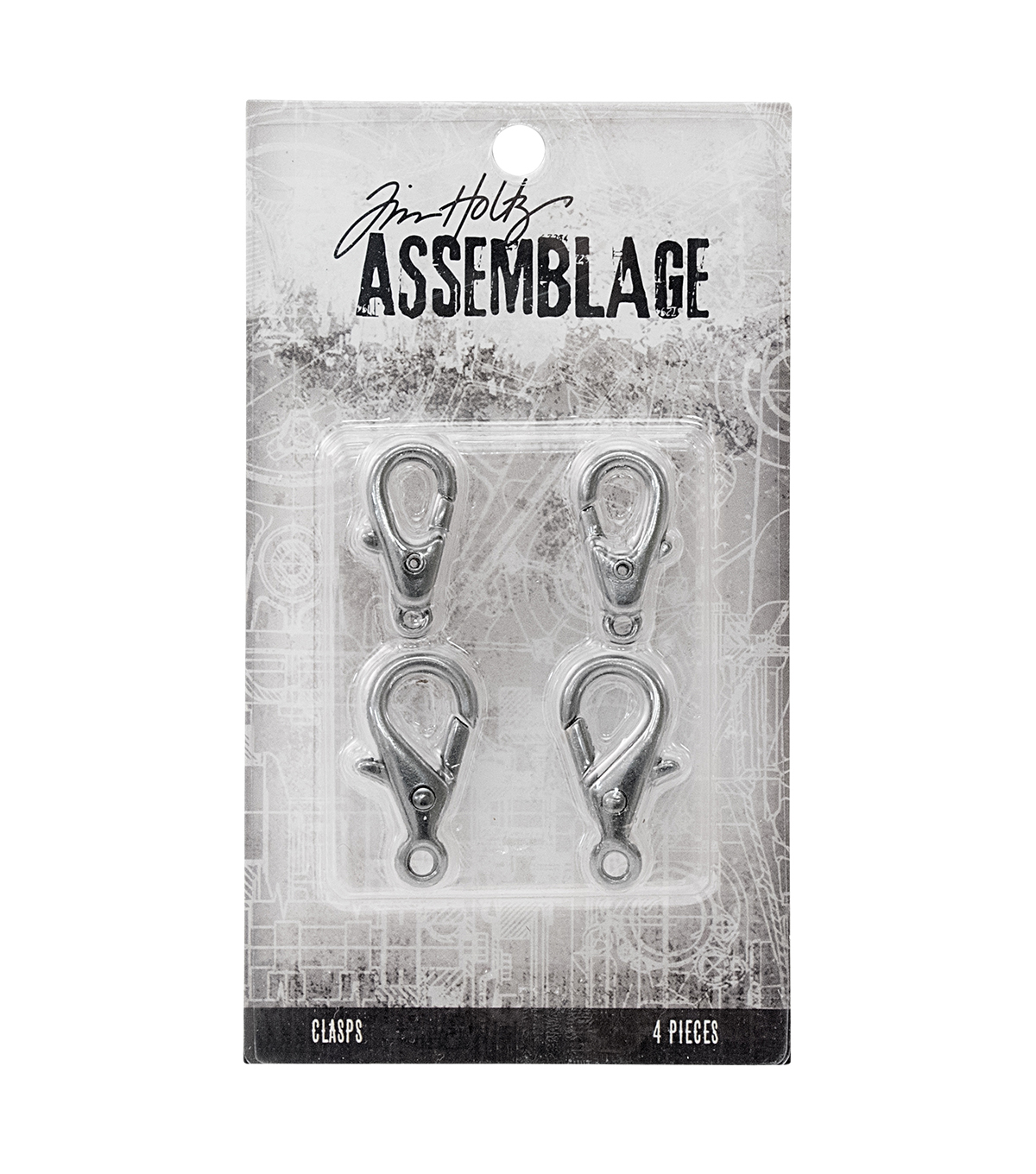 Tim Holtz Assemblage Pack of 4 Large Silver Lobster Claws Clasps