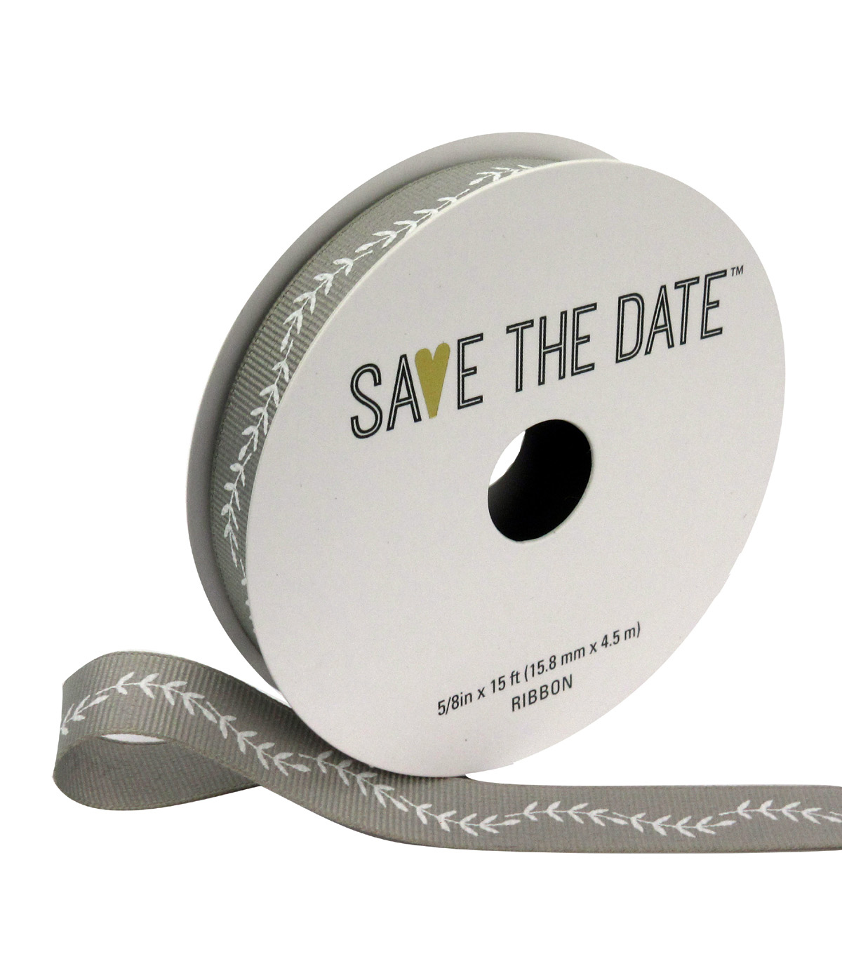 Save the Date 5/8\u0022 x 15ft Ribbon-White Fern On Light Grey