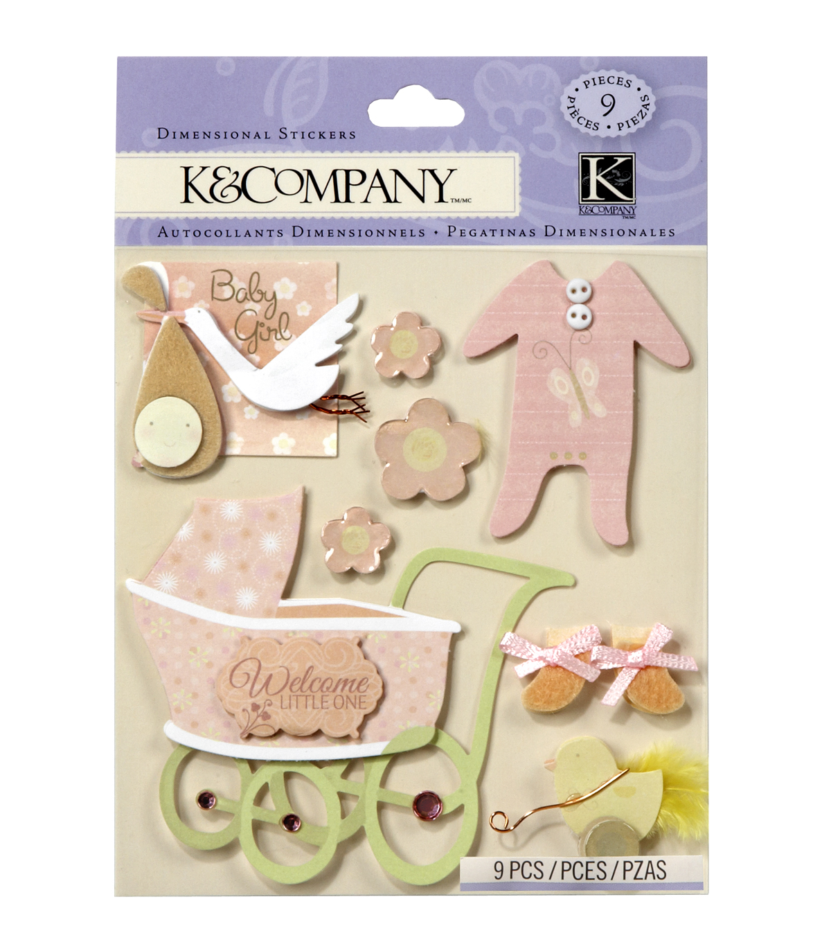 K&Company 9 pk Dimensional Stickers-Baby Girl