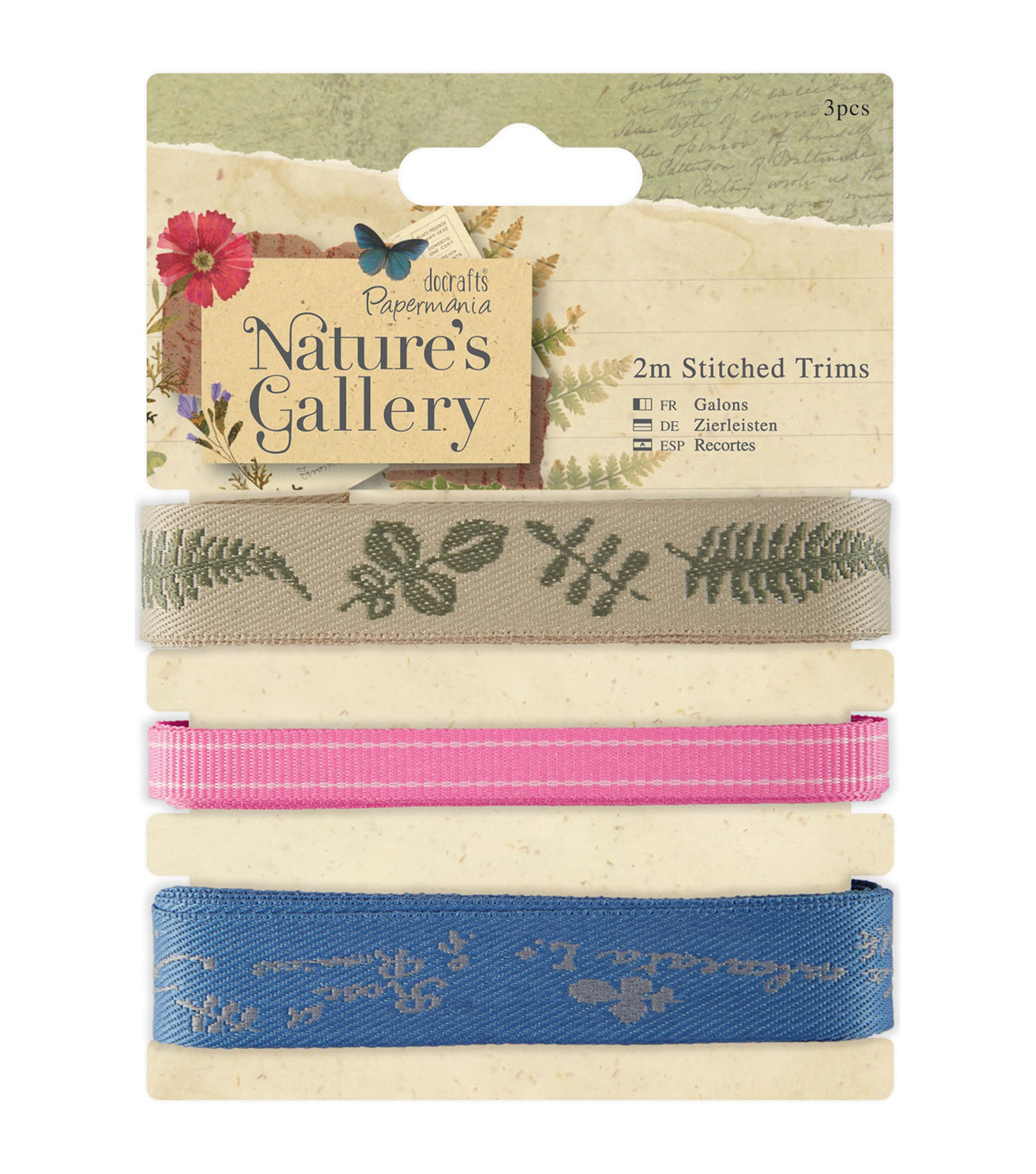 Papermania Nature\u0027s Gallery 3pcs Stitched Trims