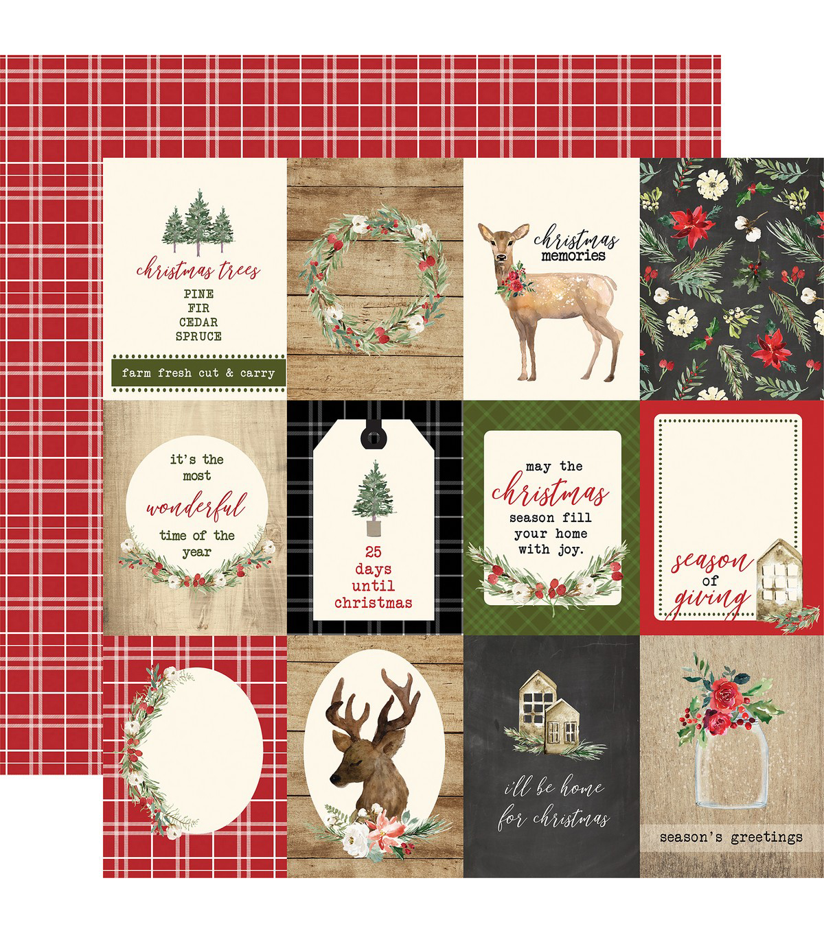 Christmas Double-Sided Cardstock 12\u0022X12\u0022-3\u0022X4\u0022 Journaling Cards