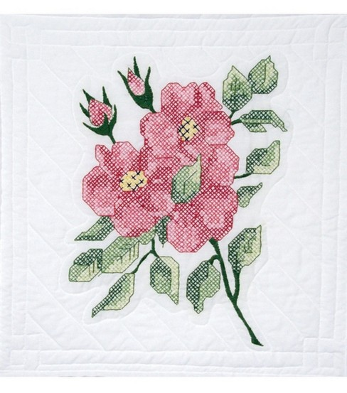Quilt Blocks Stamped 18\u0022X18\u0022 Poly Cotton-Red Roses