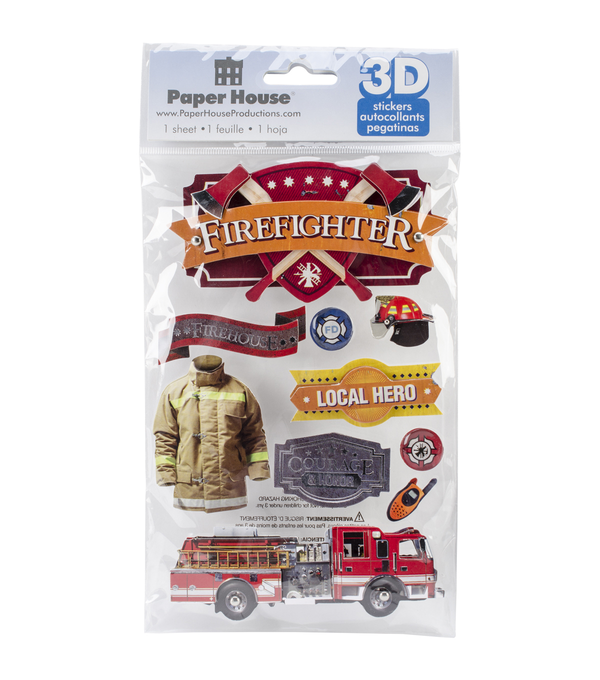 Paper House 3D Stickers-Firefighter