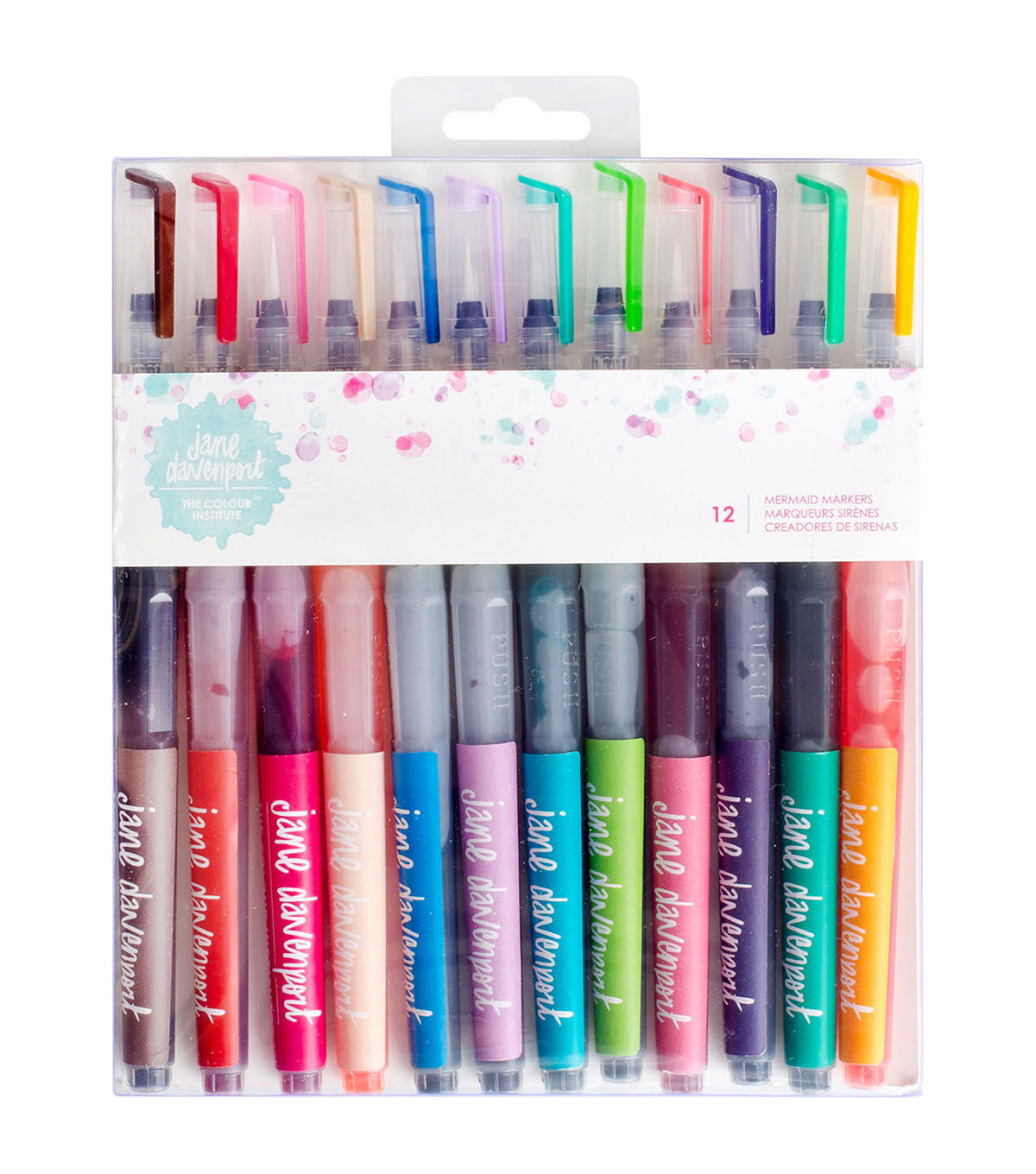 Jane Davenport 12 pk Mixed Media Brush Nib Markers-Mermaid Watercolor
