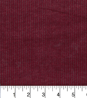 Premium Cotton Fabric -Herringbone Red