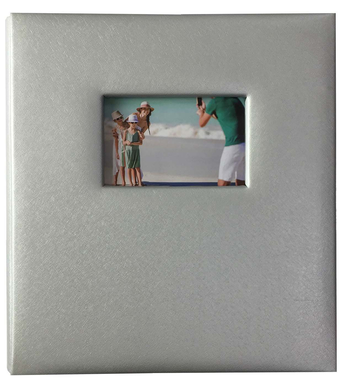 Park Lane Photo Album-Leather Silver Textured