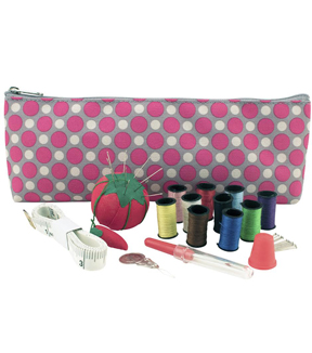 Sewing Room on Wheels 4 Piece Set with Bonus Sewing Kit-Pink/Grey