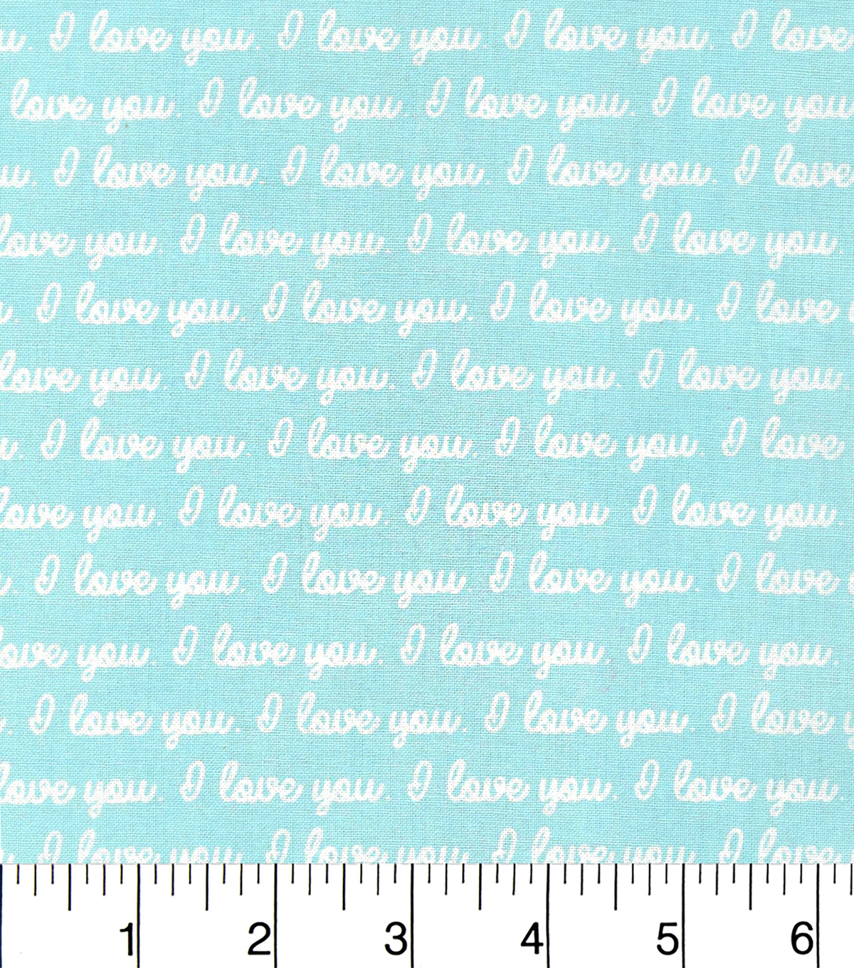 Nursery Cotton Fabric -Mint I Love You Words