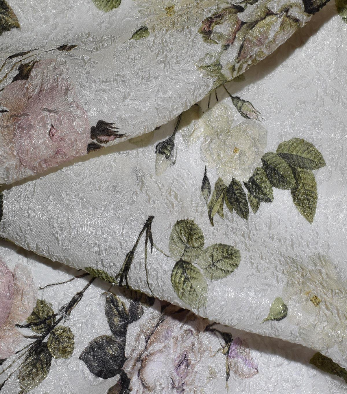 Gianna Silk Blend Double Jacquard Print Fabric 53\u0022-Eggnog Rose