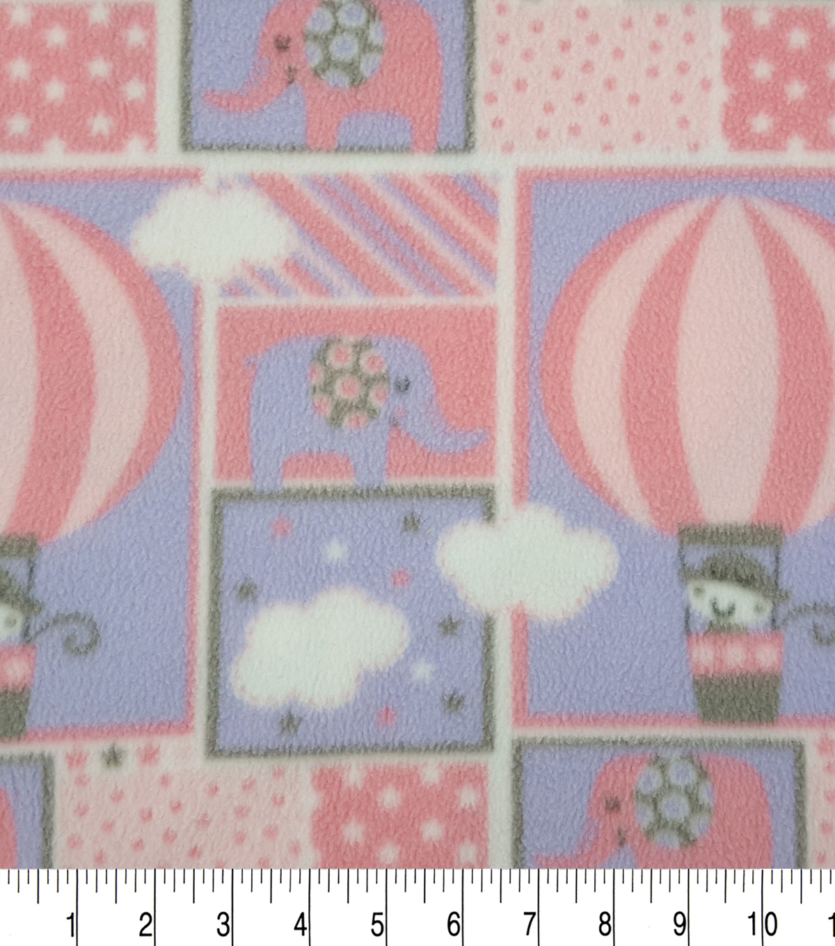 Nursery Fleece Fabric -Purple Adventure Patch