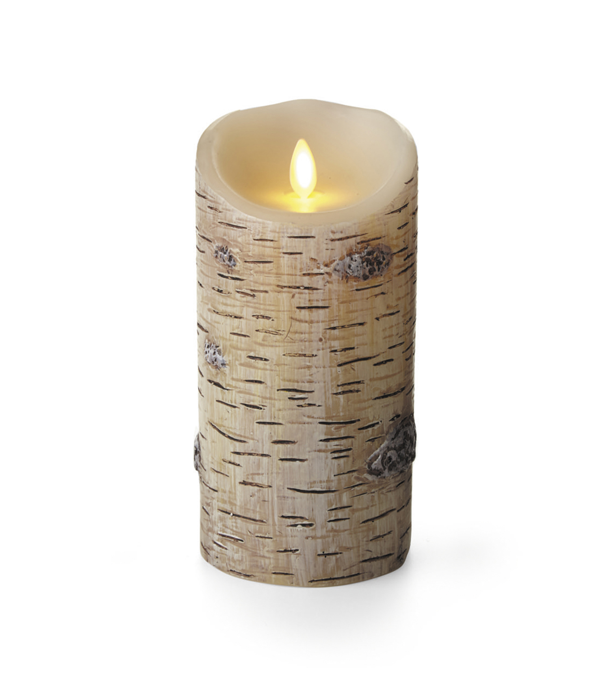 Luminara Pillar Candle - Birch Finish, 3.5 x 7 inches