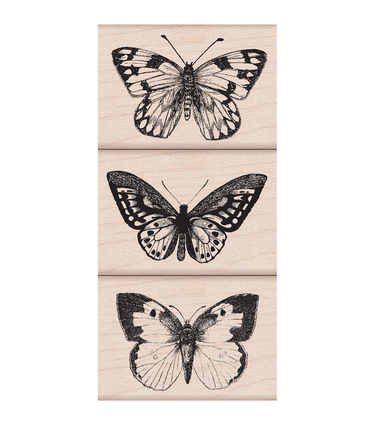 Hero Arts 3 Pack Wood Mounted Rubber Stamps-Artistic Butterflies
