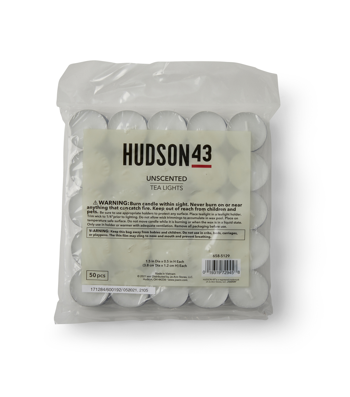 Hudson 43 Candle & Light Collection 50pk Unscented Tealights-White