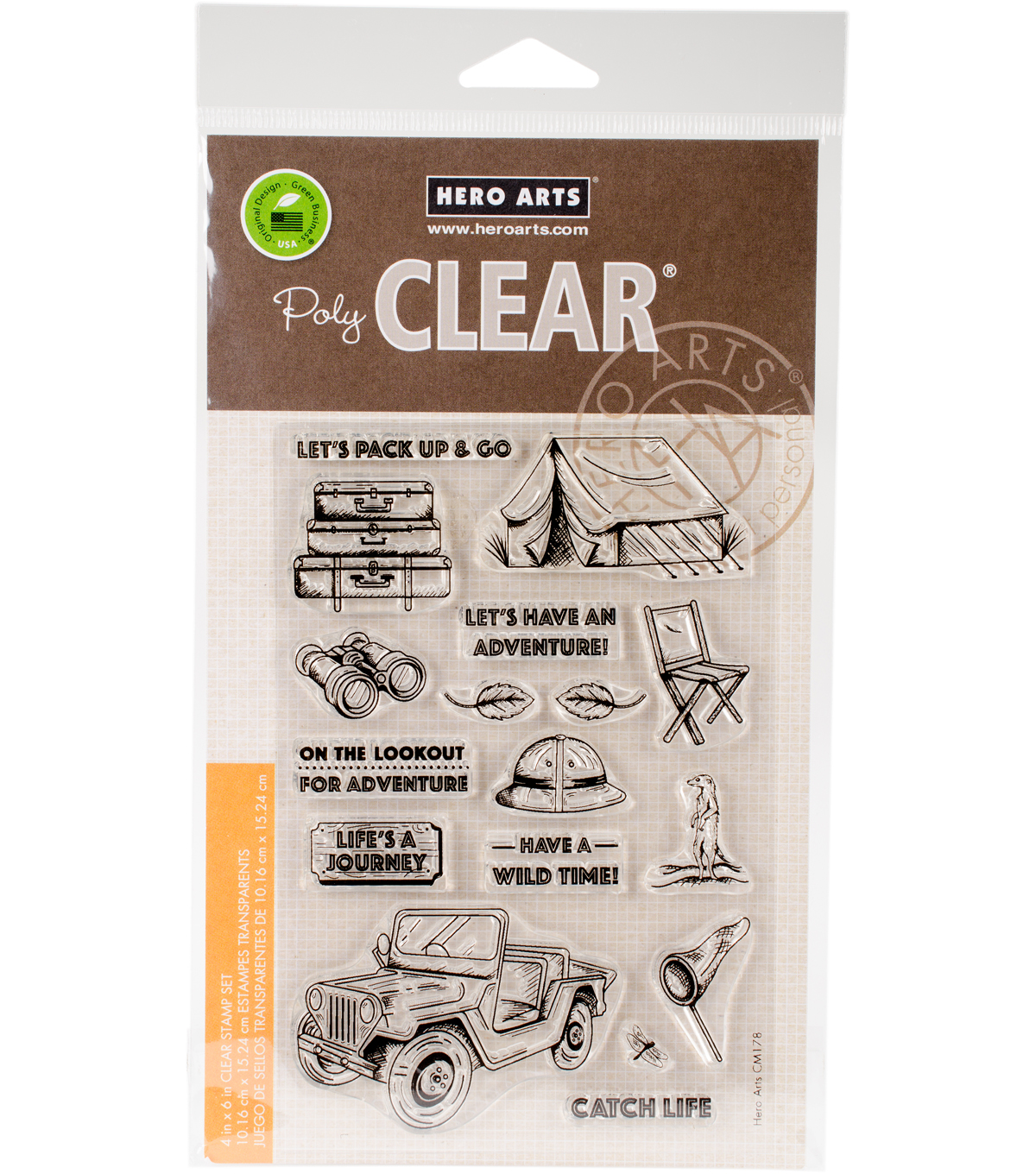 Hero Arts 17 pk Clear Stamps 4\u0027\u0027x6\u0027\u0027-Go On A Safari