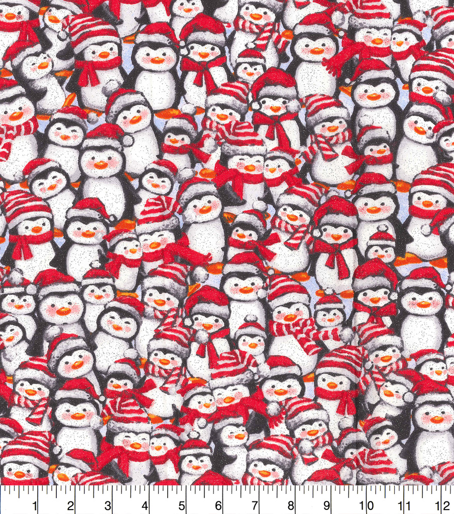 Christmas Cotton Fabric-Packed Penguin Friends Glitter