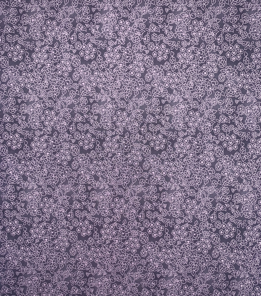Keepsake Calico Cotton Fabric-Purple Floral Outlines