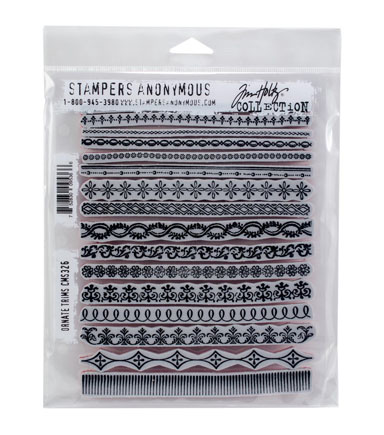 Stampers Anonymous Tim Holtz Cling Mount Rubber Stamp-Ornate Trims