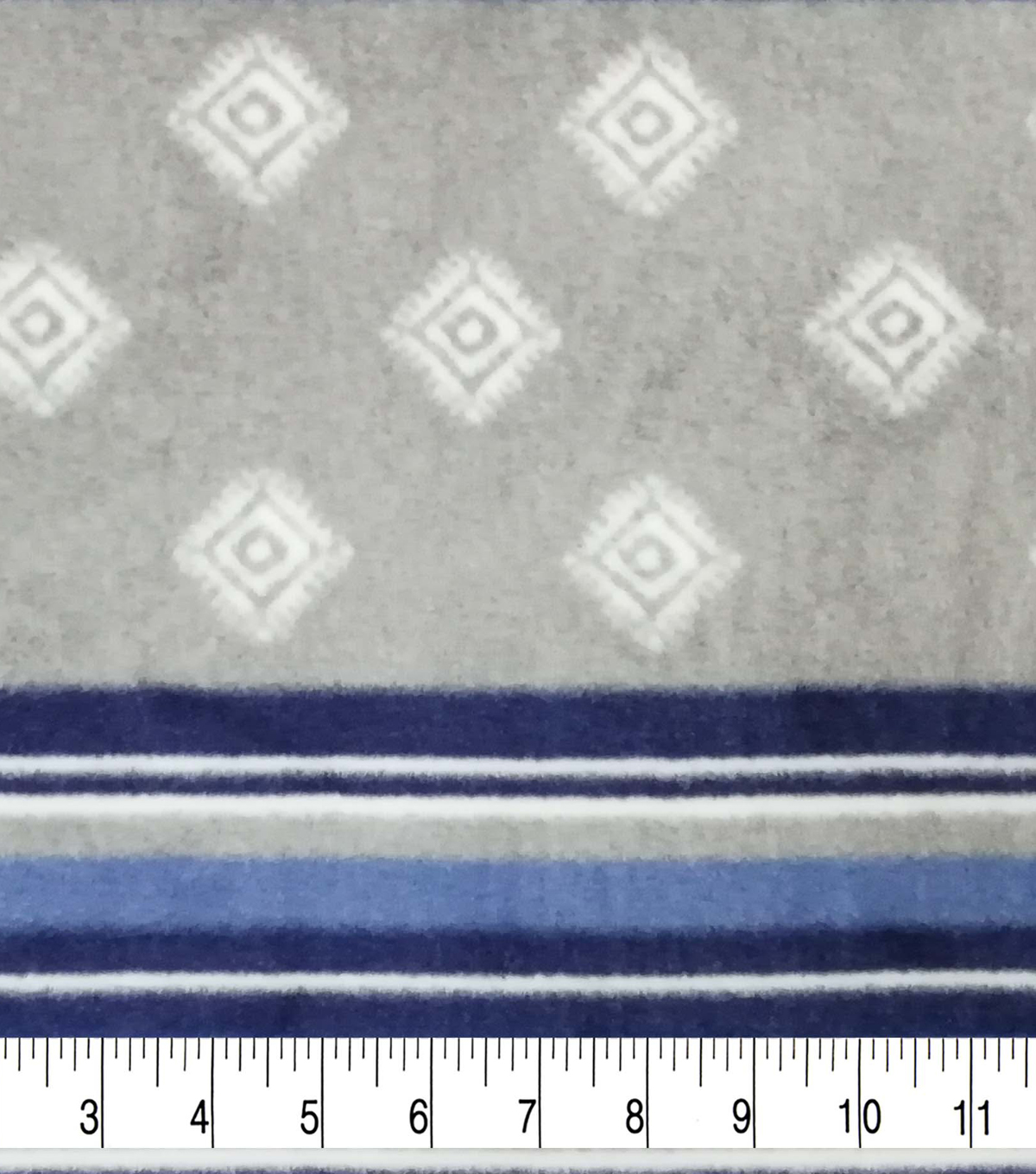 Specialty Luxe Fleece Fabric 59\u0027\u0027-Gray & Navy Stripes