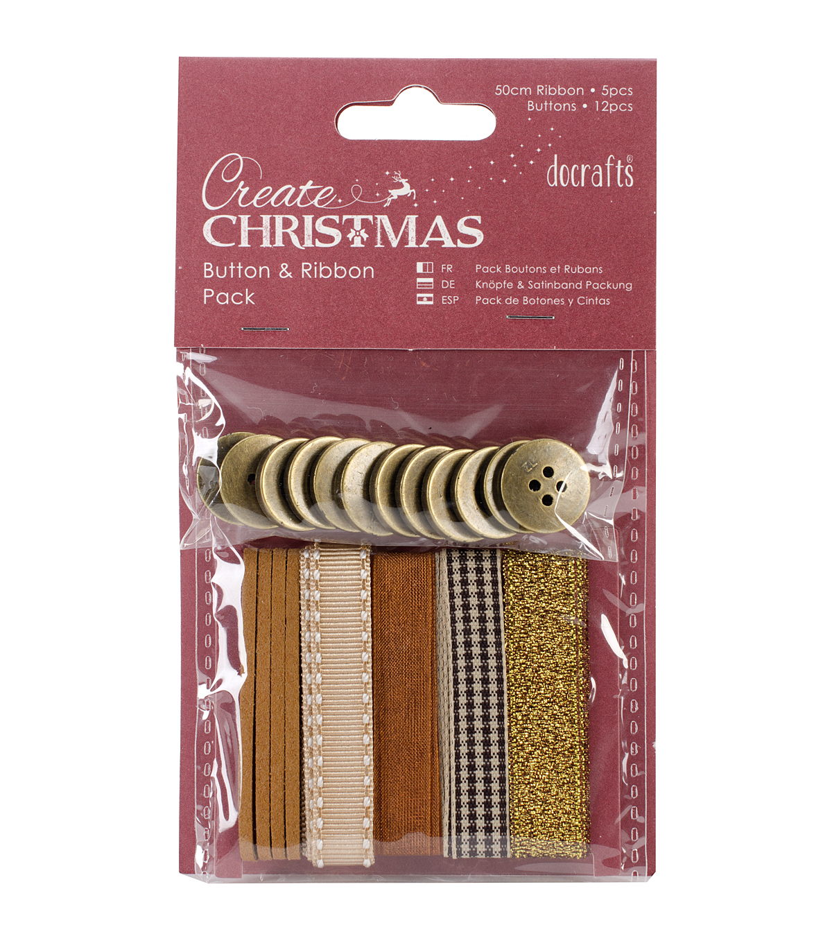 Papermania Create Christmas Bead & Ribbon Pack-Bronze