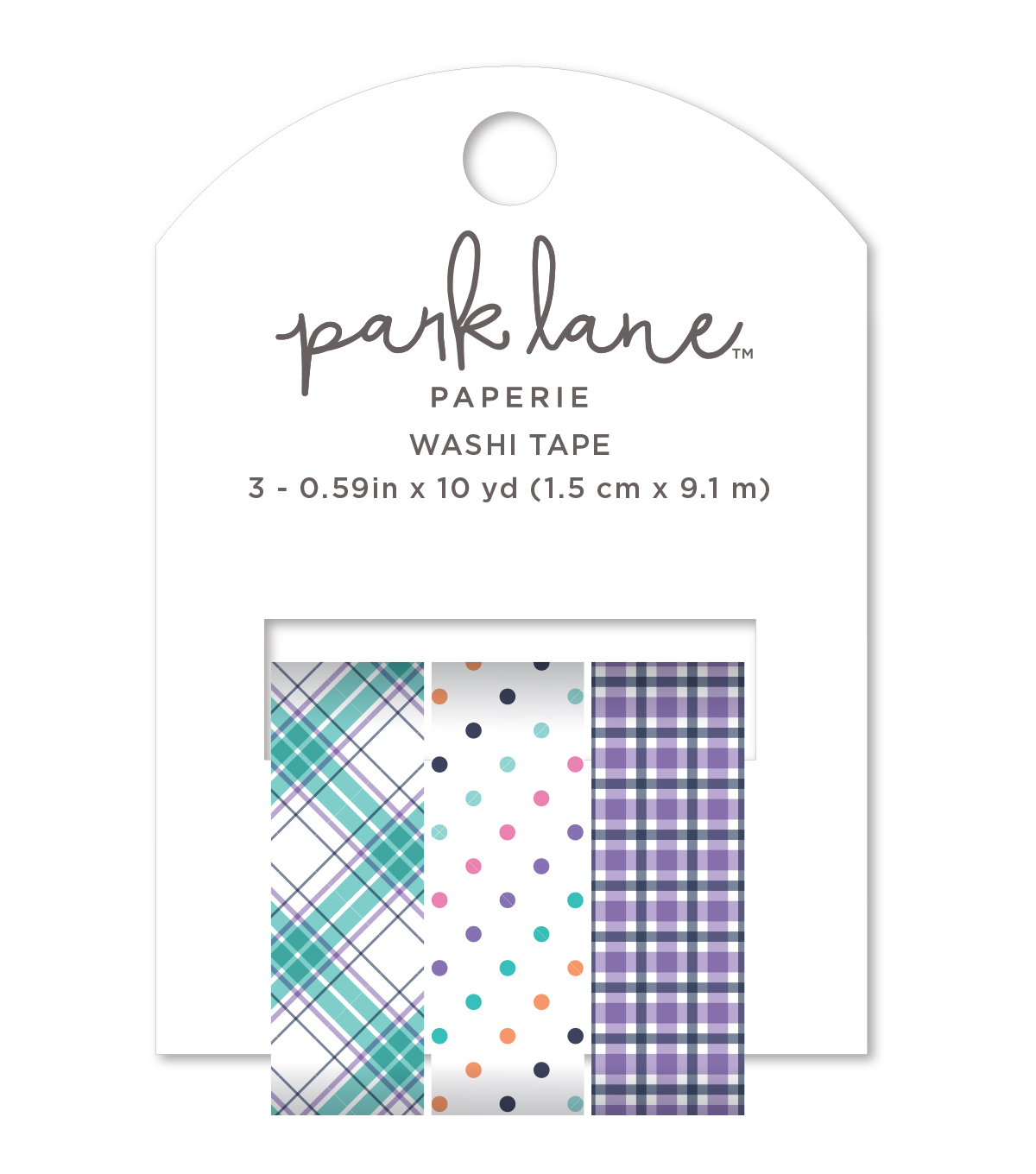Park Lane Washi Tape 3/Pkg-Plaid, Dots & Stripes