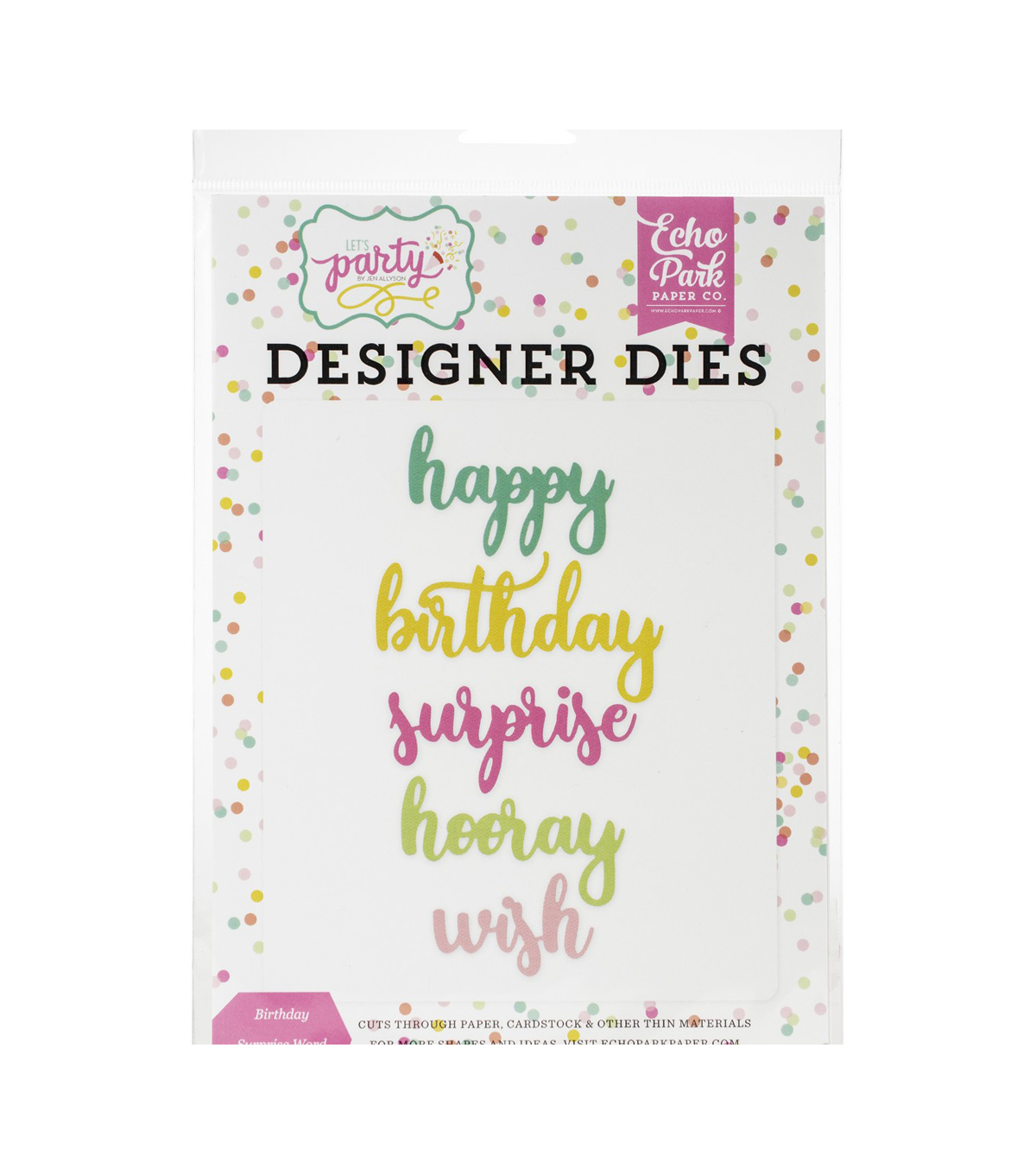 Echo Park Paper Co. Let\u0027s Party 5 pk Designer Dies-Birthday Surprise