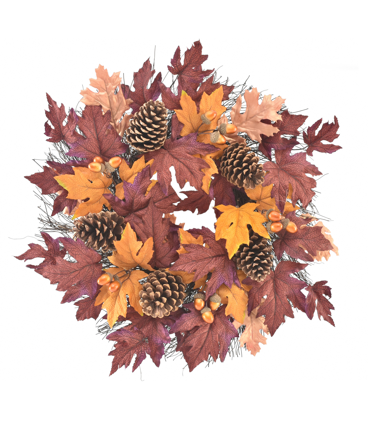 Blooming Autumn Pinecone, Maple & Oak Leaves Wreath