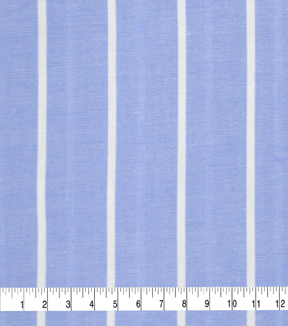 Cotton Shirting Fabric-Blue/White Wide Stripe