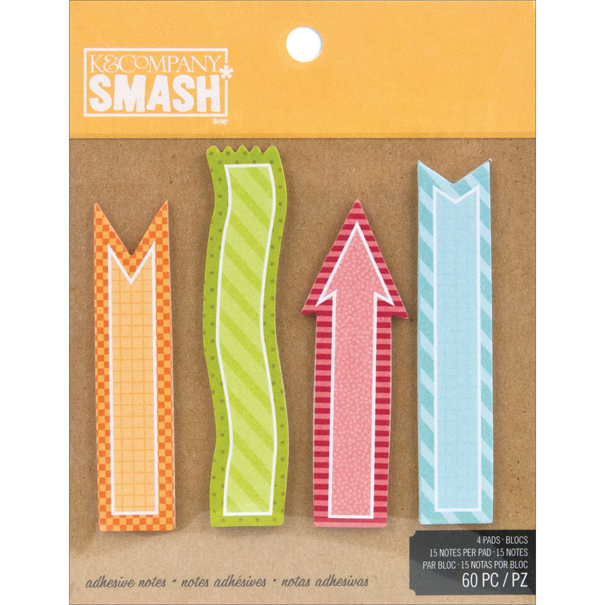 SMASH Simple Sticky Note Pad 60 Sheets-4 Pads 15 Per Pad