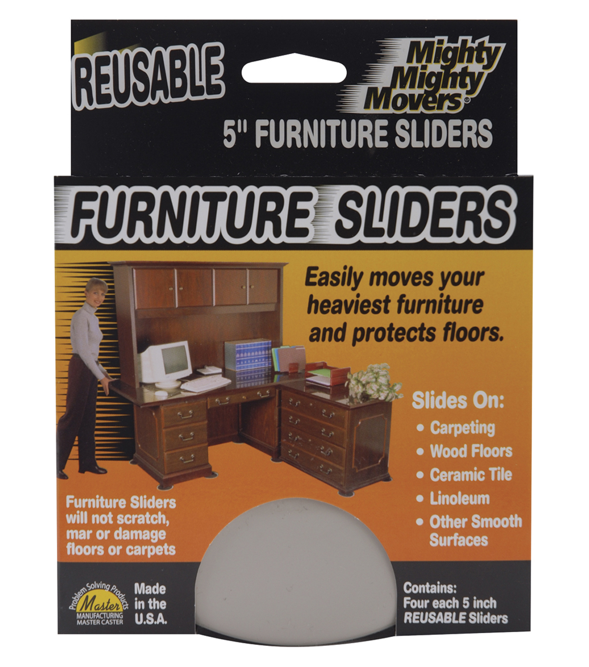 Mighty Movers Reusable Furniture Sliders 5\u0022 Round